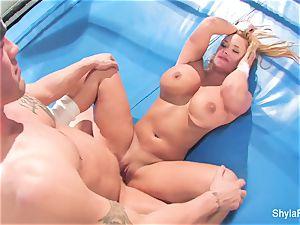 huge-boobed blond Shyla Stylez does some xxx instructing