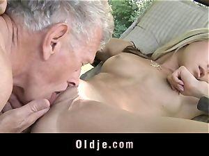 nasty blonde tempts aged boy to ravage