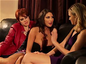 August Ames and Lily Cade rope on couch hook-up