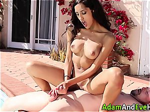 luxurious Latina tugging her excited guy