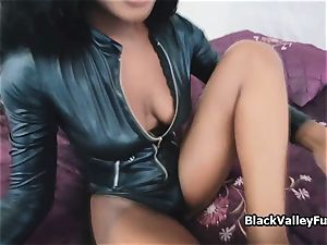 immense breast black in leather body-suit wants pink cigar