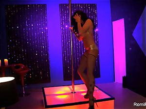Romi Rain gets insatiable on the stripper pole