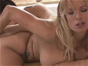 meaty boobed lesbians Alison Tyler and Stormy Daniels