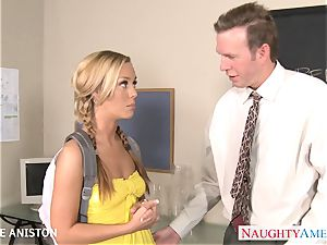 pigtailed Nicole Aniston inhale fuck-stick in classroom