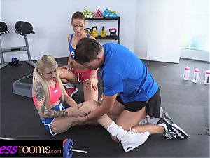 sport apartments Gym professor 3some with 2 super-naughty babes