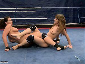 Eliska Cross and Lisa sparkle get naked and fight rigid