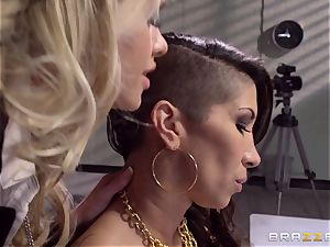 Cops Jessa Rhodes and Kendra James tear up prisoner Kayla Carrera