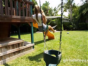 stellar dark-haired teenager jacks on the playground