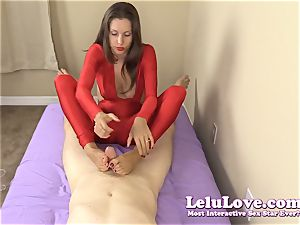 clothed doll gives you hj and footjob