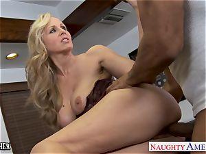 light-haired educator Julia Ann pulverizing a big black cock