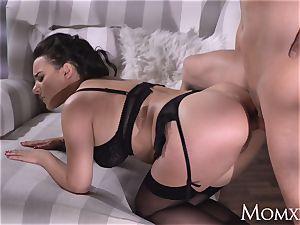 mother chesty killer French milf in black tights underwear