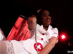 super super-fucking-hot nurse skin Diamond gives a cool tease