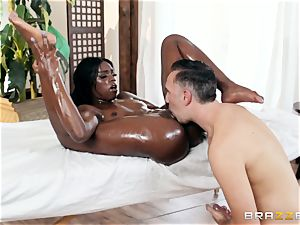 Kerian Lee inserts his well-lubed pecker into hot black stunner Ana Foxxx