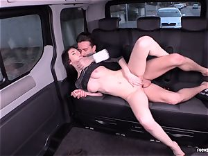 drilled IN TRAFFIC - Russian stunner tears up stiff in the car