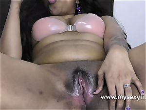 mischievous Lily humping Her cock-squeezing Indian poon With hump plaything