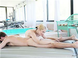 busty massagist In activity