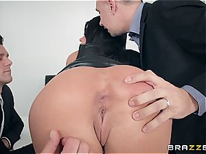 Adriana Chechik gets large facial cumshot after group sex