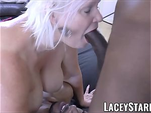 LACEYSTARR - big black cock double team works on horny grandmother