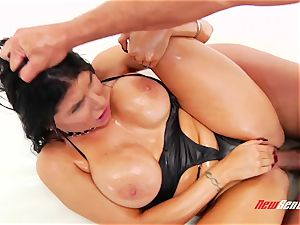 naughty spunky mexican porn starlet Romi Rain gets her meaty lubed knockers titfucked