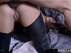 tough in rubber Romi Rain gets pounded by 3 super hot jizz-shotguns