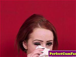 English ginger babe tugs until facial pop-shot