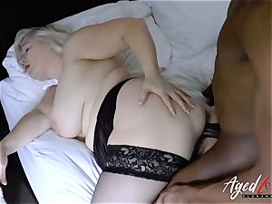 AgedLovE giant black man meat and blond Mature obese