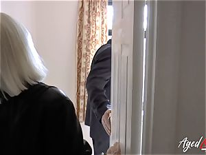 AgedLovE Mature nymph Lacey Starr blowing hard penis