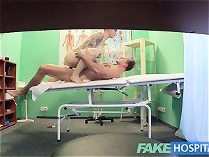 fake medical center Flirty tattooed minx requests swift lovemaking