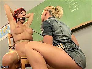Kathia Nobili providing a insatiable lesson to a scorching crimson head