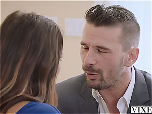 handsome Adriana is aiming for the boss' manhood