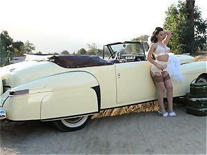 Lana Rhoades antique car slit have fun