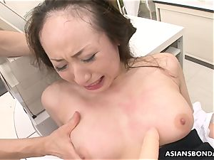 Getting her raw cooch pumped and she gets plaything plumbed