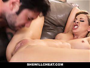 SheWillCheat cuckold wifey Gags on man-meat