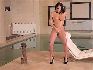big-boobed French cougar frigs Her humid slit